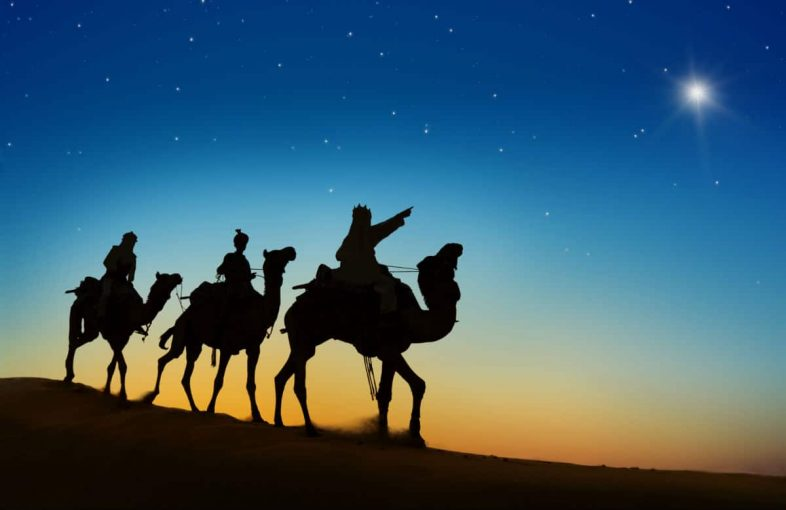 magi on camels following the star